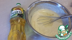 """Now add oil """"generous gift"""" and the honey with the zest, stir. The dough is now quite liquid, begin to add the remaining flour - the dough should get thicker than pancakes (i.e. the beater turns with difficulty)"""