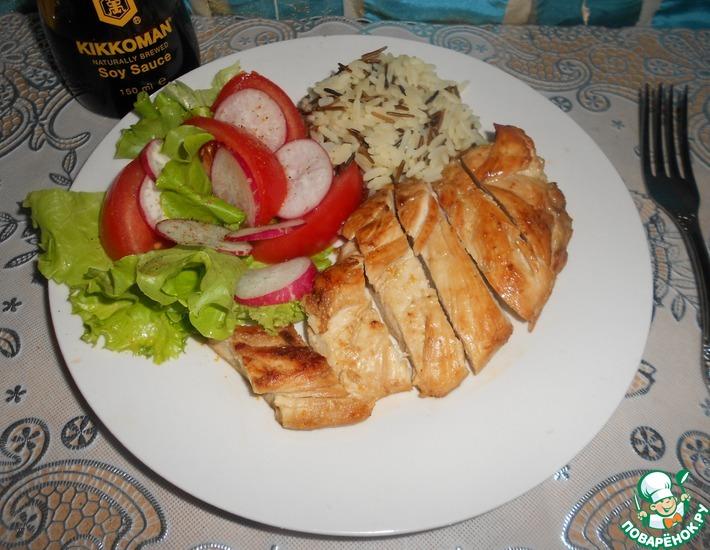 Рецепт: Куриная грудка в соево-медовом маринаде