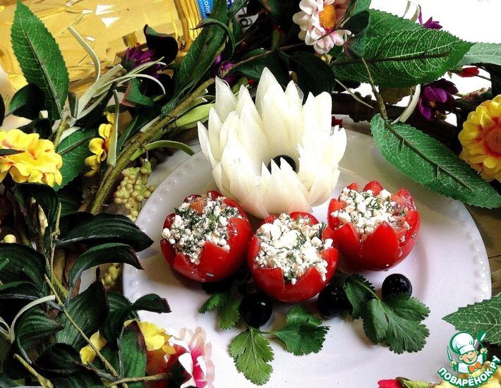 Рецепт: Закуска из помидоров и творога Весенние цветы