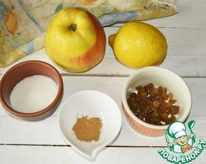 Для начинки нам понадобится очень крупное яблоко или 2 средних, изюм, сахар, корица и сок лимона.
