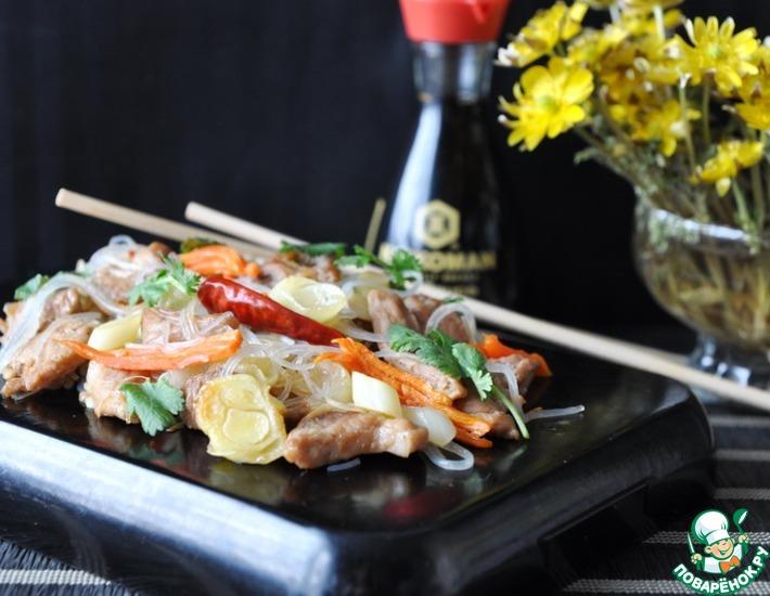 Рецепт: Свинина с пореем по-китайски