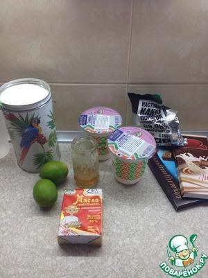 1.Вот наши продукты (на фото сняты продукты и для трюфелей с лаймом и медом). Из данного количества получается приблизительно 60 трюфелей, это оригинальная рецептура, я брала в 2 раза меньше.