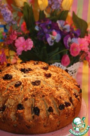 Рецепт Воздушный пирог с яблоками, клюквой и орехами