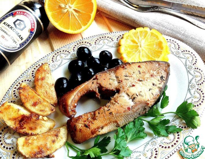 Рецепт: Горбуша в соево-медовом маринаде