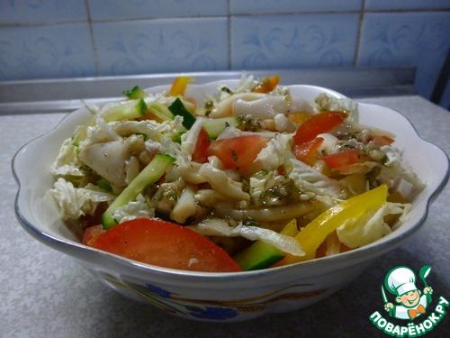 рецепт салат кальмар огурец перец болгарский