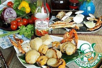 Рецепт: Шашлык из морепродуктов с мёдом