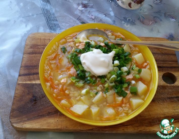 Рецепт: Суп из семги с перловкой