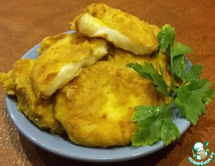 Рецепт: Колбасный копченый сыр в кляре