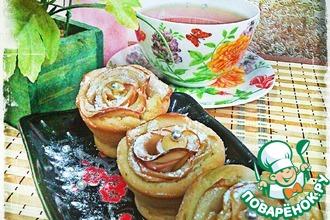 Рецепт: Кексы с яблочными розами