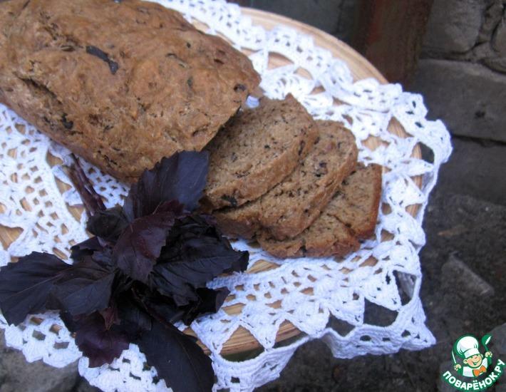 Рецепт: Хлеб на пиве из цельнозерновой муки с базиликом