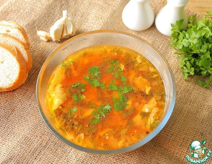 Рецепт: Зеленый борщ со щавелем, яйцом и свеклой
