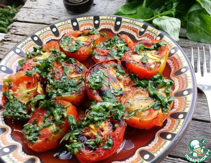 Рецепт: Шашлык из помидоров с базиликовой заправкой