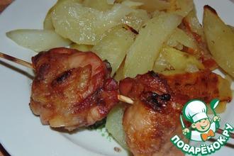 Рецепт: Шашлык из окорочков с картошкой
