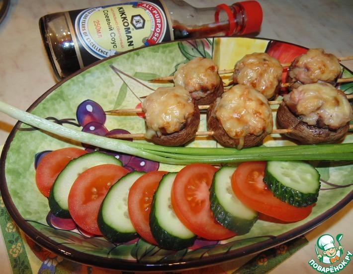 Рецепт: Шашлычки из фаршированных грибов
