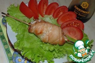 Рецепт: Шашлычки из куриных рулетов