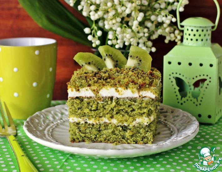 Рецепт: Изумрудный бисквитный торт
