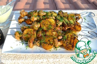 Рецепт: Картошка с грибами на гриле