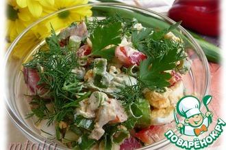 Рецепт: Салат из зеленого лука, яйца и болгарского перца