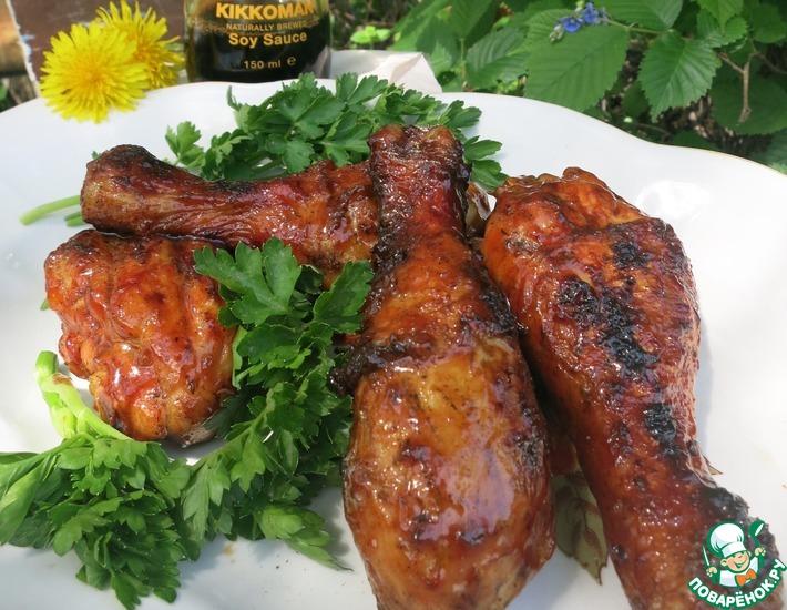 Рецепт: Курица в глазури барбекю