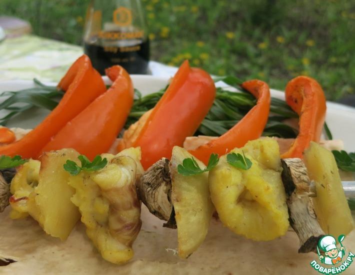 Рецепт: Рыбный шашлык в йогуртово-соевом маринаде