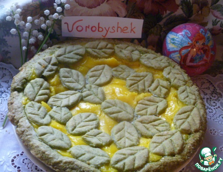 Рецепт: Зеленый пирог с заварным кремом и карамелью