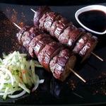 Шашлык из мяса и баклажанов