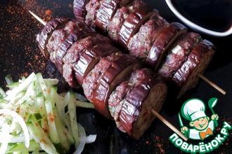 Рецепт: Шашлык из мяса и баклажанов