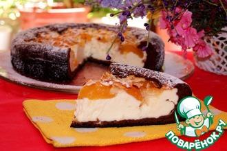 Рецепт: Шоколадная бисквитная ватрушка с абрикосами