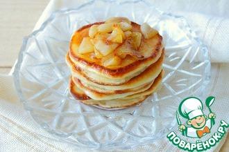 Рецепт: Вкусные оладушки с карамелизированными яблоками