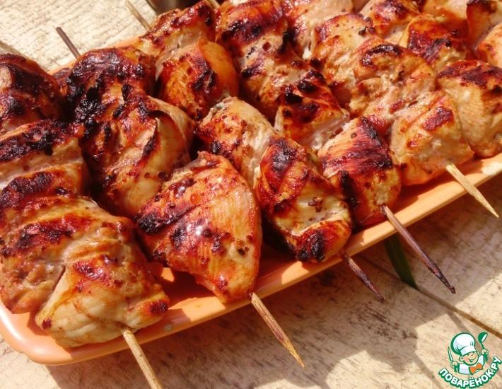 Рецепт: Шашлык по-грузински из курицы