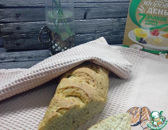 Рецепт: Хлеб со злаковыми хлопьями и льняными семечками