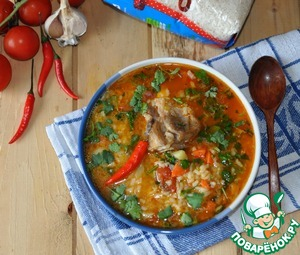 Red soup with white wine