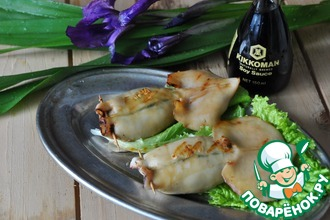 Рецепт: Кальмары-гриль с зелёной начинкой