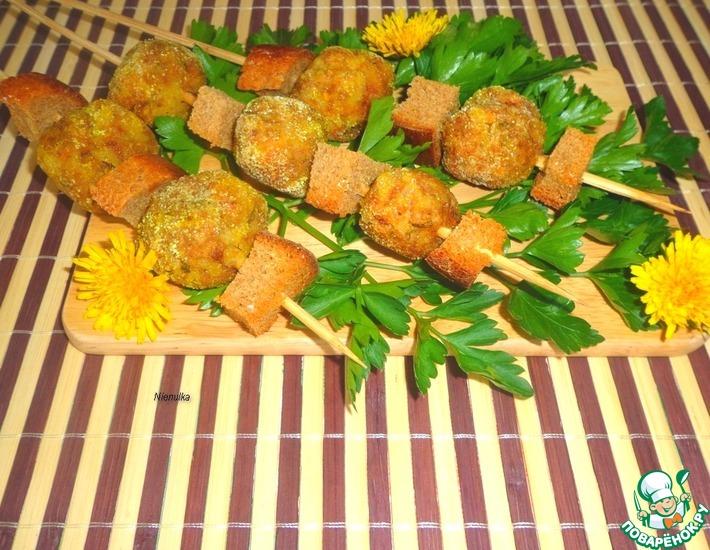 Рецепт: Шашлык из мясных тефтелей