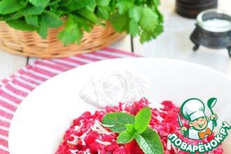 Рецепт: Розовое ризотто с грибами и пармезаном