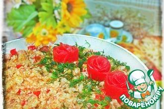 Рецепт: Паэлья с курицей, ветчиной и овощами