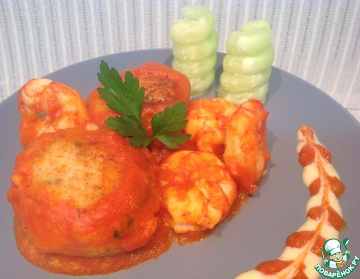 Рецепт: Тефтели из трески с креветочным соусом