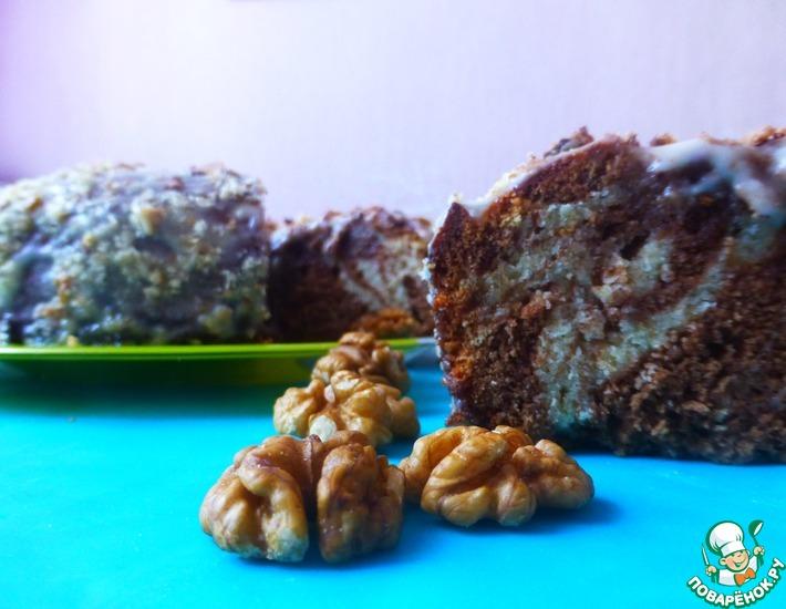 Рецепт: Торт Зебра с орехом