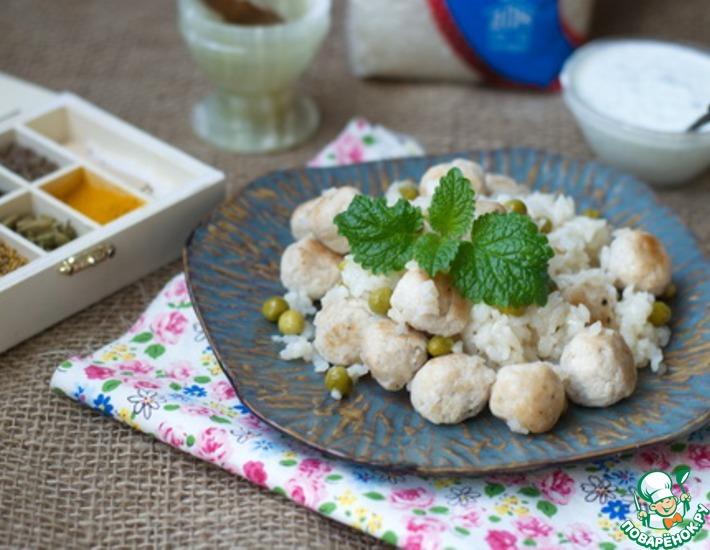Рецепт: Рисовая каша с фрикадельками