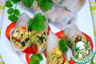 Рецепт: Роллы из рисовой бумаги с рисом и креветками