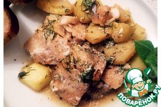 Рецепт: Рыбка с картошкой в сметане