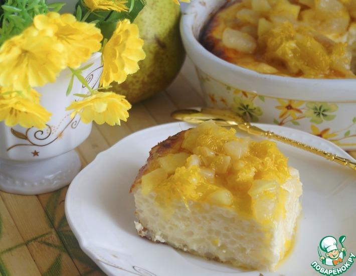Рецепт: Рисово-творожная запеканка с карамелизованными фруктами