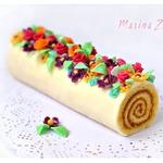 Бисквитно-карамельный рулет Радуга самоцветов