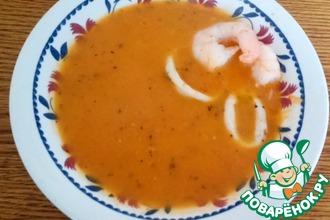 Рецепт: Томатный крем-суп с моцареллой и морепродуктами