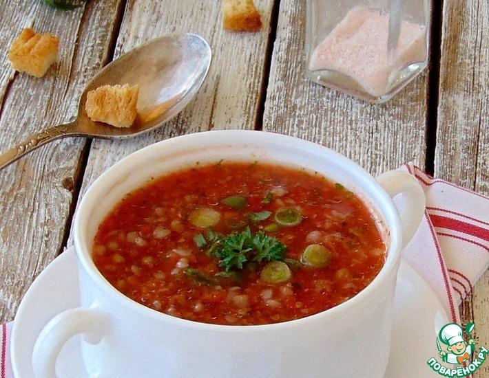 Рецепт: Холодный томатный гречневый суп