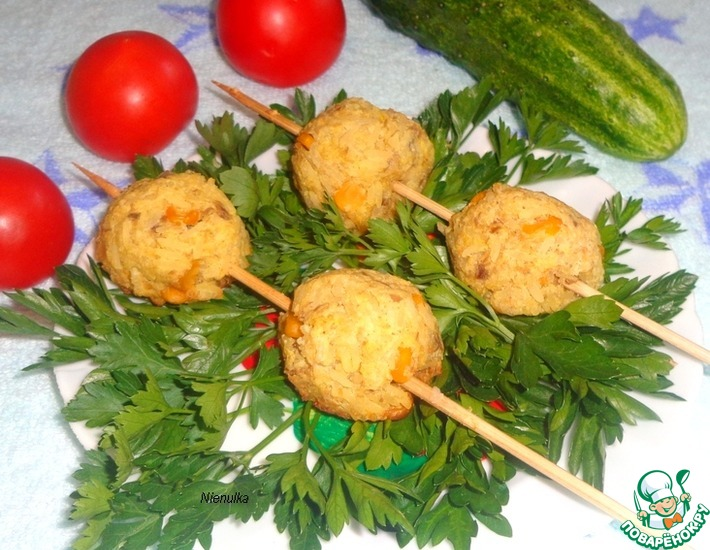 Рецепт: Шашлык из рыбно-рисовых тефтелей