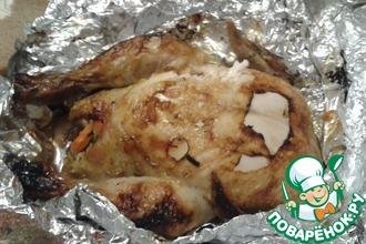 Рецепт: Фаршированная курица в углях