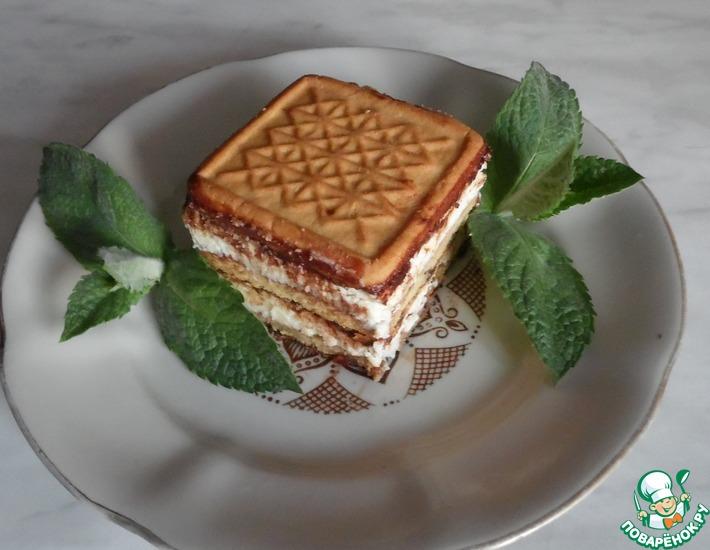 Рецепт: Пирожное из печенья и творога без выпечки