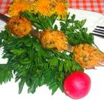 Шашлык из тефтелей с сырной начинкой