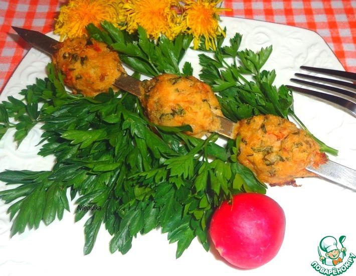 Рецепт: Шашлык из тефтелей с сырной начинкой